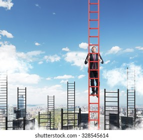 A concept of competition, and problem solving. A businessman choses the right ladder to achieve the success in career. New York city view.