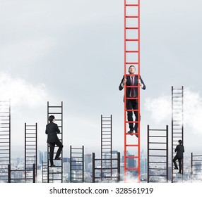 A concept of competition, and problem solving. Several businessmen are racing to achieve the highest point using ladders. New York city view.