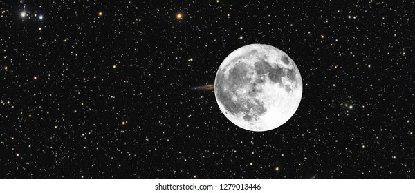 Concept composed by a galaxy in the sky occulted by Moon in full phase and a lot of stars as background, taken, all two objects, with telescope.