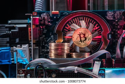 Concept of computer circuit computer board for bitcoin mining. Devices and technology for mining cryptocurrency. Machines for mining cryptocurrency.