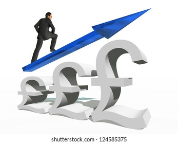 Concept or conceptual 3D blue glass pound symbol with arrow pointing up isolated on white background with businessman as a metaphor for business,finance,money,growth,success,stock,currency or economy