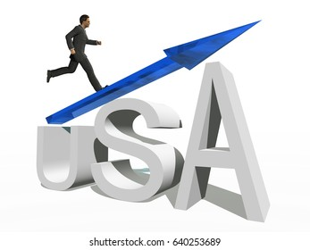 Concept or conceptual 3D blue glass USA symbol with arrow pointing up isolated on white background with a businessman