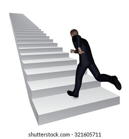 Concept or conceptual 3D business man running or climbing white stair isolated on white background metaphor to success, career, work, job, achievement, development, growth, progress, vision or future