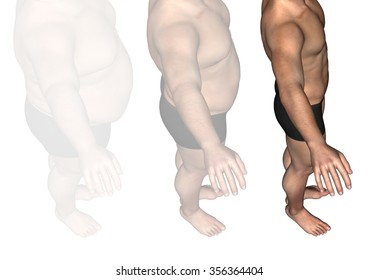 Concept or conceptual 3D fat overweight vs slim fit diet with muscles young man isolated on white background for weight loss, body, fitness, fatness, obesity, health, healthy, male, dieting or shape
