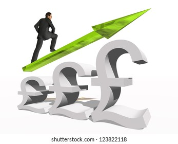 Concept or conceptual 3D green glass pound symbol with arrow pointing up isolated on white background with businessman as a metaphor for business,finance,money,growth,success,stock,currency or economy