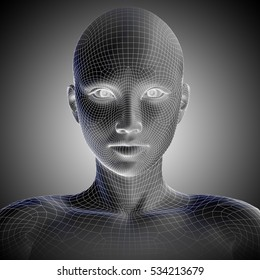 Concept or conceptual 3D illustration wireframe young human female or woman face or head on gray background metaphor to technology, cyborg, digital, virtual, avatar, model, science, fiction, future