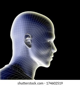 Concept or conceptual 3D wireframe human male head isolated on black background, metaphor to technology, cyborg, digital, virtual, avatar, model, science, fiction, future, mesh or abstract