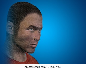 Concept or conceptual 3D wireframe young human male or man face or head on blue background metaphor for technology, cyborg, digital, virtual, avatar, model, science, fiction, future, mesh or abstract