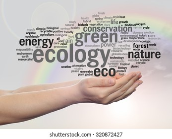 Concept or conceptual abstract green ecology, conservation word cloud text in man hand, rainbow sky background for environment, recycle, earth, clean, alternative, protection, energy, eco friendly bio