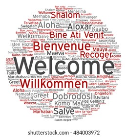 Concept conceptual abstract round welcome or greeting international word cloud in different languages or multilingual isolated metaphor to world, foreign, worldwide, travel, translate vacation tourism