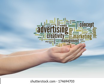 Concept or conceptual abstract word cloud or wordcloud in man or woman hand, blue sky background, metaphor to business, trend, media, focus, market, value, product, advertising, customer or corporate