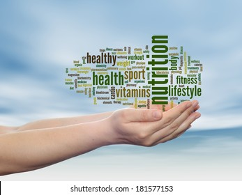 Concept or conceptual abstract word cloud man hand, blue sky background, metaphor to health, nutrition, diet, wellness, body, energy, medical, fitness, medical, gym, medicine, sport, heart or science
