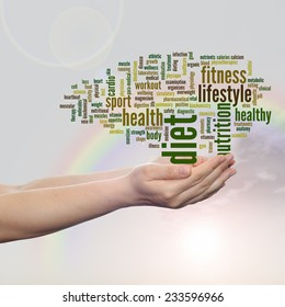 Concept or conceptual abstract word cloud man hand, rainbow sky background, metaphor to health, nutrition, diet, wellness, body, energy, medical, fitness, medical, gym, medicine, sport, heart, science