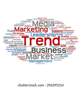 Concept or conceptual abstract word cloud on white background as metaphor for business, trend, media, focus, market, value, product, advertising or customer. Also for corporate wordcloud