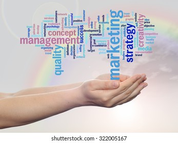 Concept or conceptual abstract word cloud or wordcloud, man or woman hand, rainbow sky background, metaphor to business, trend, media, focus, market, value, product, advertising, customer or corporate