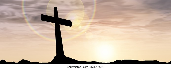 Concept conceptual black cross or religion symbol silhouette in rocks over a sunset or sunrise sky with sunlight clouds background for God, Christ, Christianity, religious, faith, Jesus or belief