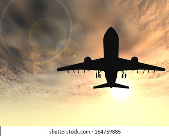 Concept or conceptual black plane, airplane or aircraft silhouette flying over sky at sunset or sunrise background,metaphor to air,travel,transportation,jet,flight,transport,business,vacation,tourism