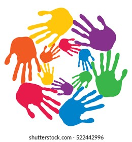 Concept or conceptual circle spiral of colorful hand prints made by children isolated on white background for paint, handprint, symbol, people, identity, together, friendship, play, fun designs
