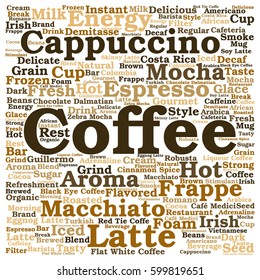Concept conceptual creative hot coffee, cappuccino or espresso abstract word cloud isolated on background metaphor to morning, restaurant, italian, beverage, cafeteria, break, energy or taste