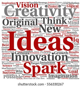 Concept or conceptual creative new ideas or brainstorming square word cloud isolated on background metaphor to spark, creativity, original, innovation, vision, think, achievement, smart genius