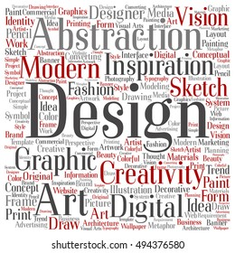 Concept or conceptual creativity art graphic design square word cloud isolated on background metaphor to advertising, decorative, fashion, identity, inspiration, vision, perspective or modeling