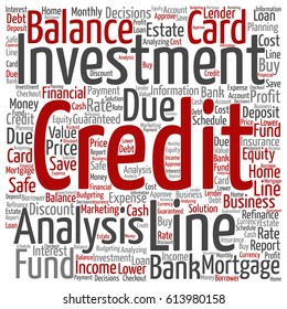 Concept or conceptual credit card line investment balance square word cloud isolated on background