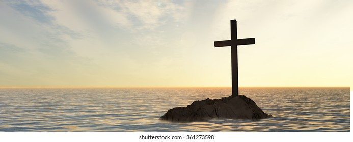 Concept or conceptual dark christian cross standing on a rock in the sea or ocean over a beautiful sky at sunset, metaphor for faith, religion, religious, belief, Jesus, Christ, spiritual or church