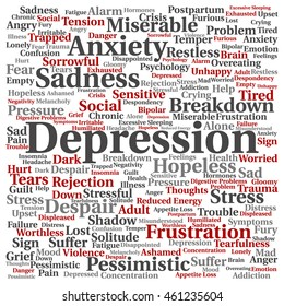 Concept conceptual depression or mental emotional disorder abstract square word cloud isolated on background metaphor to anxiety, sadness, negative, sad, problem, despair, unhappy, frustration symptom