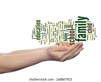 Concept or conceptual education abstract word cloud, human man hand on white background,metaphor to child, family, school, life, learn, knowledge, home, study, teach, achievement, childhood or teen