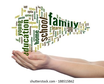 Concept or conceptual education abstract word cloud, human man hand on white background, metaphor to child, family, school, life, learn, knowledge, home, study, teach, achievement, childhood or teen
