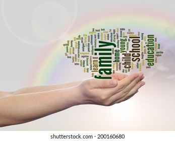 Concept or conceptual education abstract word cloud, human man hand, rainbow sky background, metaphor to child, family, school, life, learn, knowledge, home, study, teach, achievement, childhood, teen