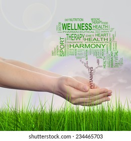 Concept conceptual green text word cloud tagcloud as tree in man or woman hand on rainbow sky background and grass, metaphor to health, nutrition, diet, body, energy, medical, sport, heart science
