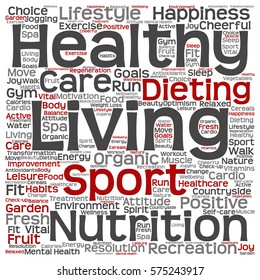 Concept or conceptual healthy living positive nutrition or sport square word cloud isolated on background metaphor to happiness, care, organic, recreation workout, beauty, vital healthcare spa