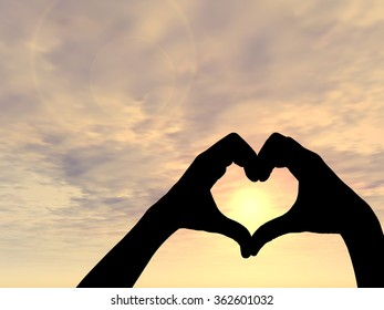 Concept conceptual heart shape or symbol made of human or woman and man hand silhouette over a sky at sunset background metaphor to love, valentine, romantic, couple, wedding, romance, summer sunrise