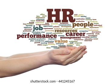 Concept conceptual hr or human resources management abstract word cloud in hand isolated on background, metaphor to workplace, development, career, success, hiring, competence, goal, corporate or job