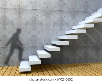 Concept or conceptual leadership man businessman job or career rise climb on stair or steps near a wall background. A success, business achievement, education growth, goal or future 3D illustration