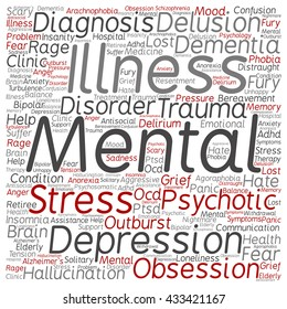 Concept conceptual mental illness disorder management or therapy square word cloud isolated on background, metaphor to health, trauma, psychology, help, problem, treatment or rehabilitation