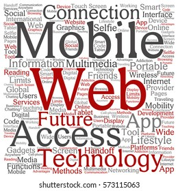 Concept or conceptual mobile web portable multimedia technology square word cloud isolated on background metaphor to access, future app, lifestyle communication, social tool, online services