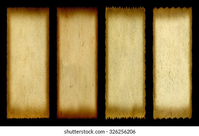 Concept or conceptual old vintage paper background set or collection isolated on black background ideal for antique, grunge, texture, retro, aged, ancient, dirty, frame, manuscript or material designs