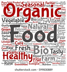 Concept or conceptual organic food healthy bio vegetables square word cloud isolated on background metaphor to natural, fresh tasty farm agriculture, certificate ecological garden quality crop