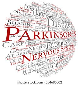 Concept conceptual Parkinson`s disease healthcare or nervous system disorder abstract word cloud isolated on background metaphor to healthcare, illness, degenerative, genetic, symptom or brain