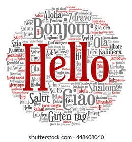 Concept or conceptual round abstract hello or greeting international word cloud in different languages or multilingual, metaphor to world, foreign, worldwide, travel, translate, vacation or tourism