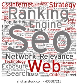 Concept or conceptual search engine optimization, seo square word cloud isolated on background, metaphor to marketing, web, internet, strategy, online, rank, result,  network, top, relevance