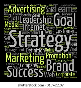 Concept or conceptual text word cloud isolated on black background, metaphor to advertising, business, company, growth, corporate, identity, innovation, media, management, market, sale or trend value