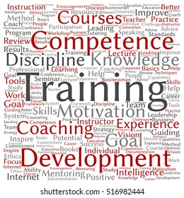 Concept or conceptual training, coaching or learning, square word cloud isolated on background metaphor to mentoring, development, skills, motivation, career, potential, goals or competence
