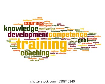 Concept or conceptual training, coaching or learning, study word cloud isolated on background, metaphor to mentoring, development, skills, motivation, career, potential, goals or competence