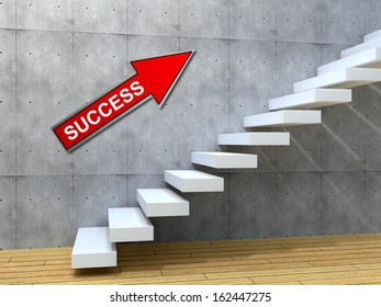 Concept conceptual white stone concrete stair steps near brick wall background with wood floor, metaphor to architecture, success, climb, business, staircase, stairway, rise, achievement growth future