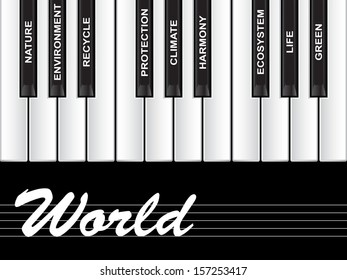 Concept or conceptual white text piano keys word cloud or tagcloud isolated on black background as metaphor to nature, ecology, green, energy, natural, life, world, global, protect recycling