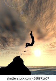 Concept conceptual young 3D man businessman silhouette jump happy from cliff over water sunset or sunrise sky background  as metaphor to freedom, nature, mountain, success, free, joy, health riskound