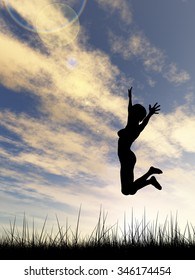 Concept or conceptual young woman or businesswoman silhouette jump happy on grass field at sunset or sunrise sky background  metaphor to freedom, nature, vacation, success, free, joy, health or youth